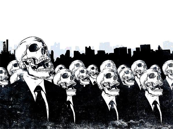 обои с иллюстрацией скелетов в стиле гранж