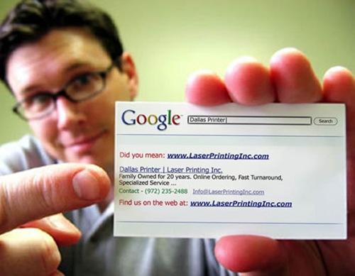 визитка в виде поисковика Google