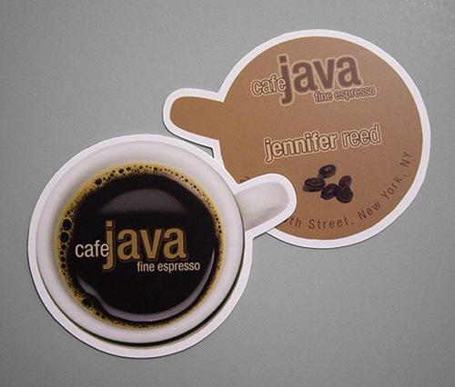 визитка в виде чашки кофе