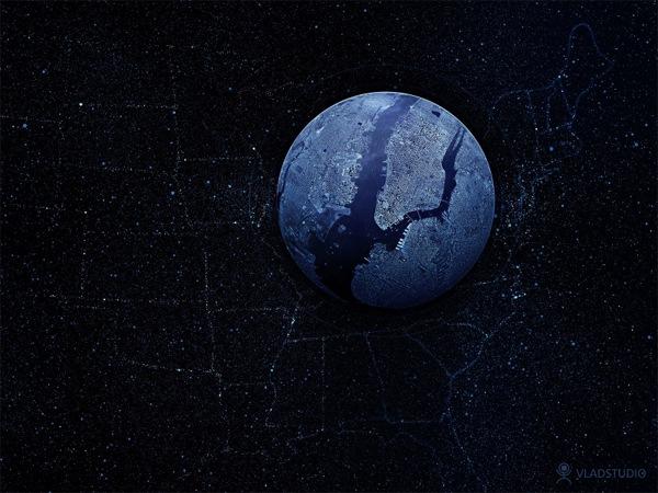 темные обои с Землей и звездами