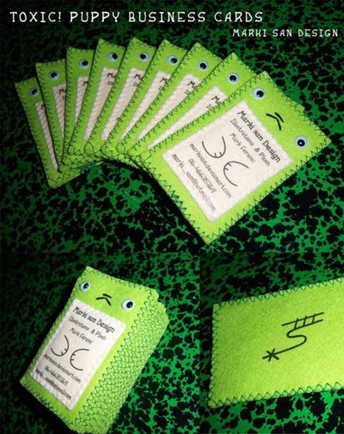 визитка-забавный монстр из ткани