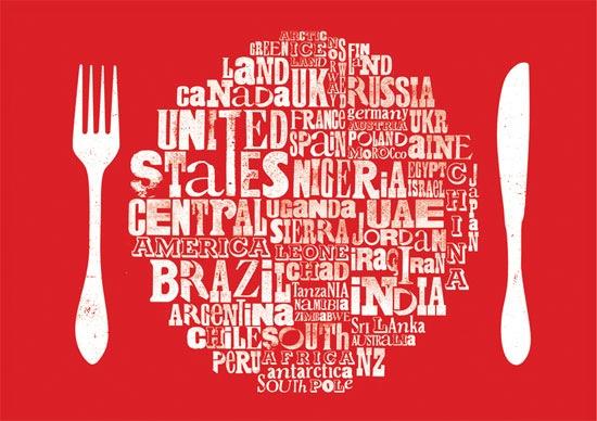 тарелка из типографических шрифтов