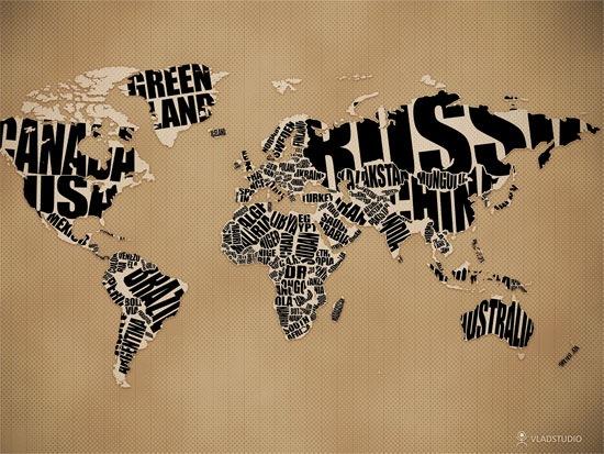 карта мира из шрифтов