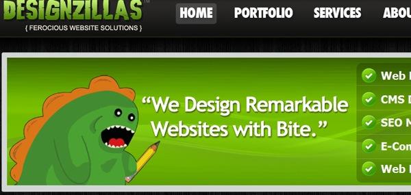 забавный динозавр в дизайне сайта