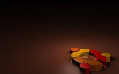 разноцветный логотип Ubuntu в 3D