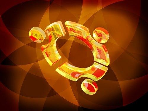 стеклянный 3D логотип на обоях Ubuntu