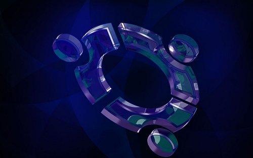темно-синие обои с стеклянным 3D логотипом Ubuntu