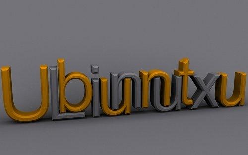 типографические 3D обои Ubuntu
