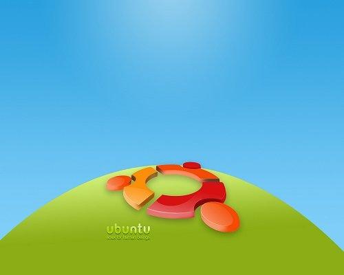 яркие 3D обои с лого Ubuntu