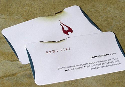 обгоревшая визитка