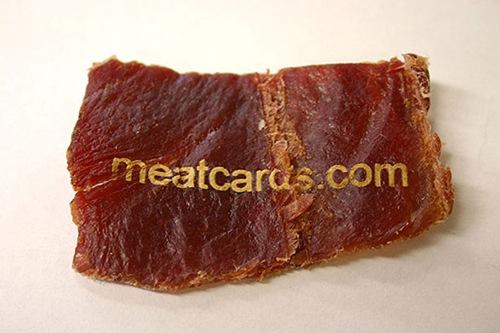 визитка в виде куска мяса