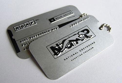 стильная металлическая визитная карточка
