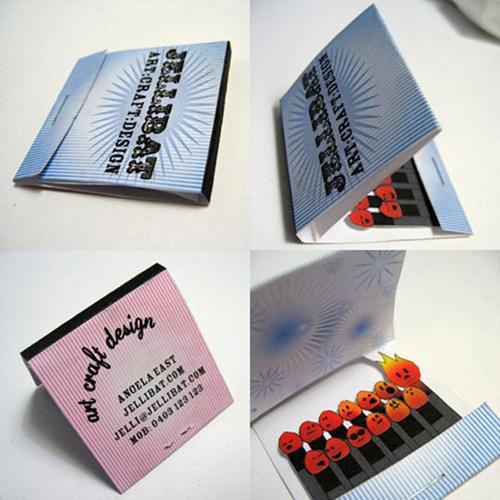 визитка с нарисованными спичками