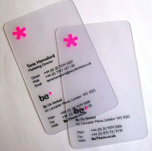 оккуратная прозрачная визитная карточка