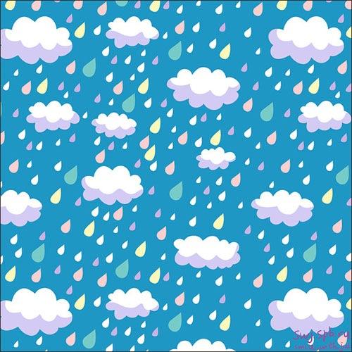 Паттерн иллюстрированный облачками и дождем