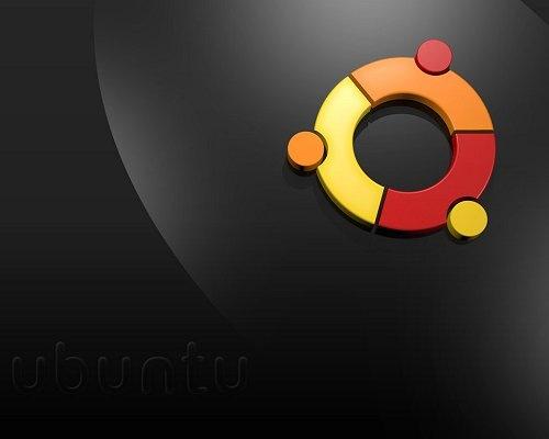 черные обои с логотипом ubuntu
