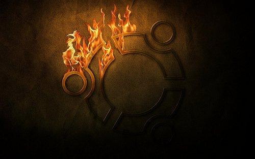 логотип ubuntu в огне