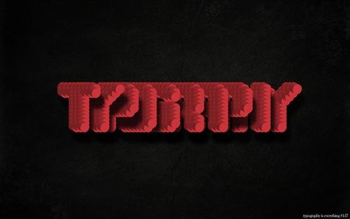 объемный типографический шрифт