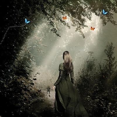 Фото эффект освещения в лесу