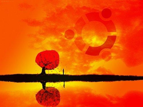 алые иллюстрированные обои ubuntu
