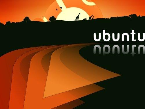 оранжевые обои ubuntu с иллюстрацией