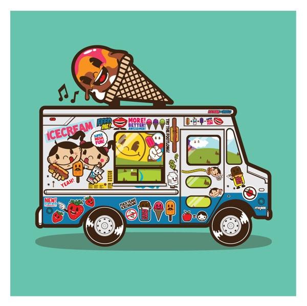 векторный грузовичок с мороженным