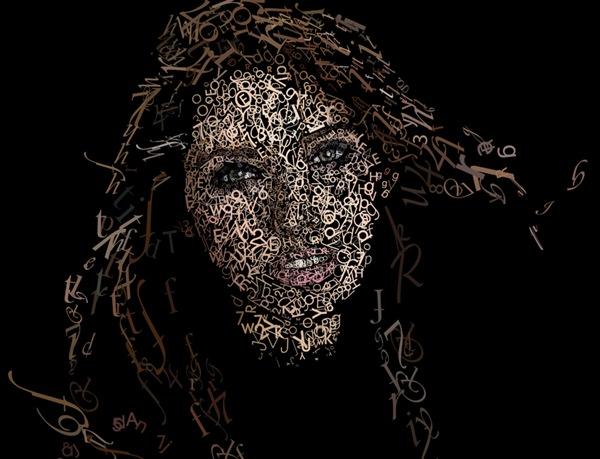 типографический портрет девушки
