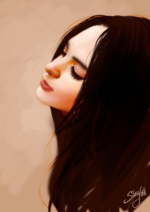 портрет девушки в профиле
