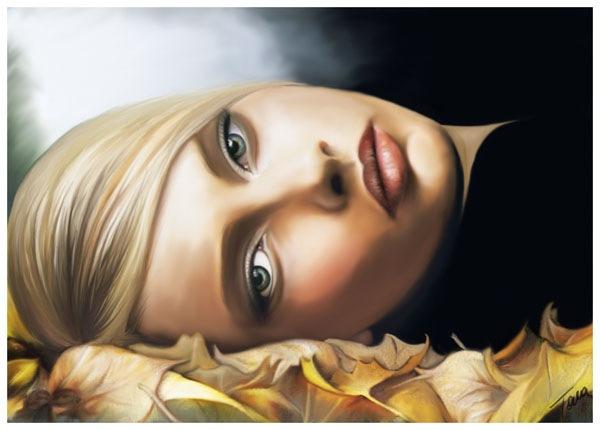 девушка на осенней листве