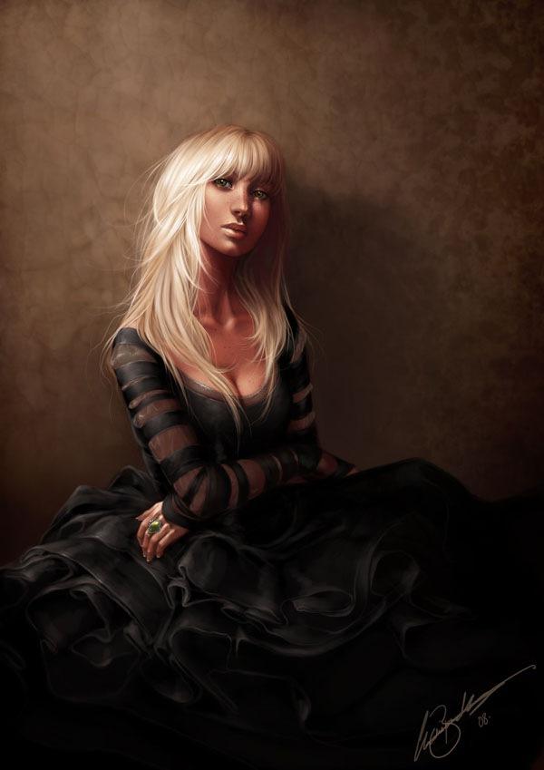 портрет девушки в черном
