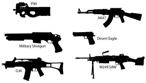 Силуэты оружия