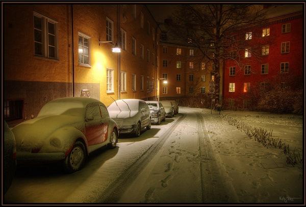 зимняя улица в хдр
