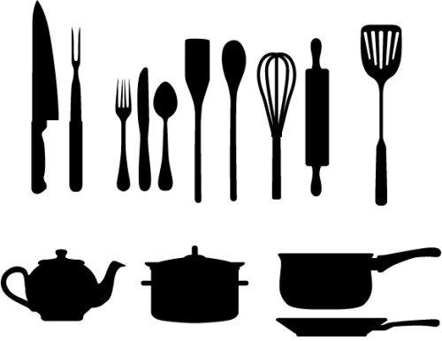 Силуэты кухонных принадлежностей