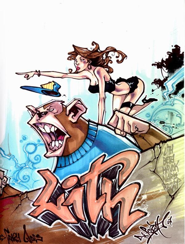 яркий рисунок граффити