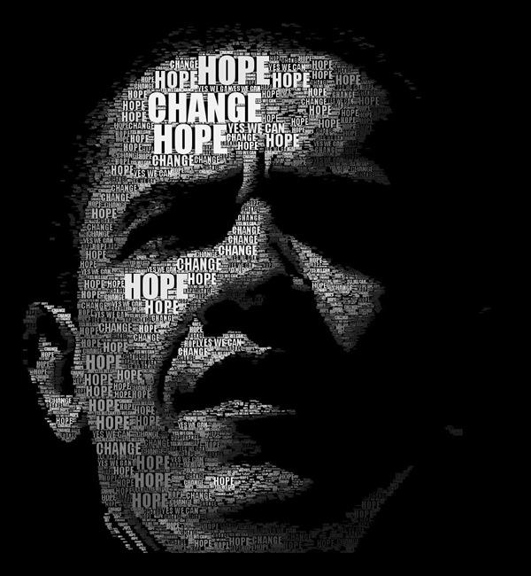 Обама портрет в типографическом стиле