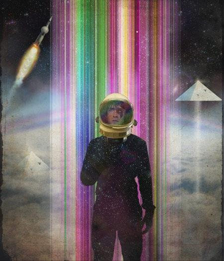 космонавт в стиле ретро