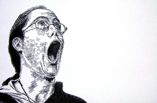 портрет кричащего человека