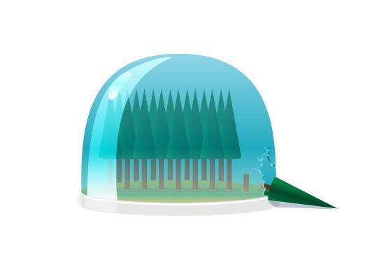 Лес в стеклянном шаре