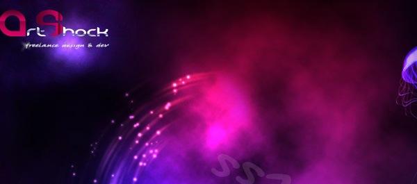 яркий сайт в фиолетовых тонах