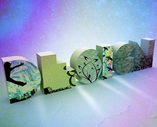 типографика с элементами цветов и иллюстрации