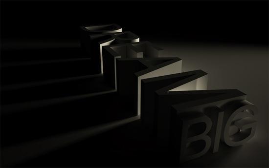 строгий 3D типографический дизайн