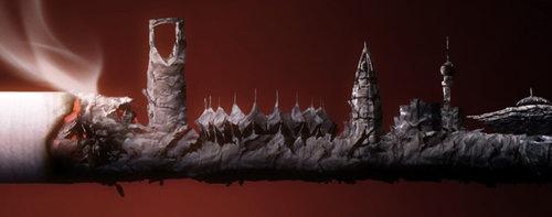 руины из пепла