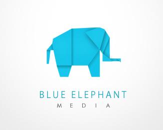 голубой бумажный слоник