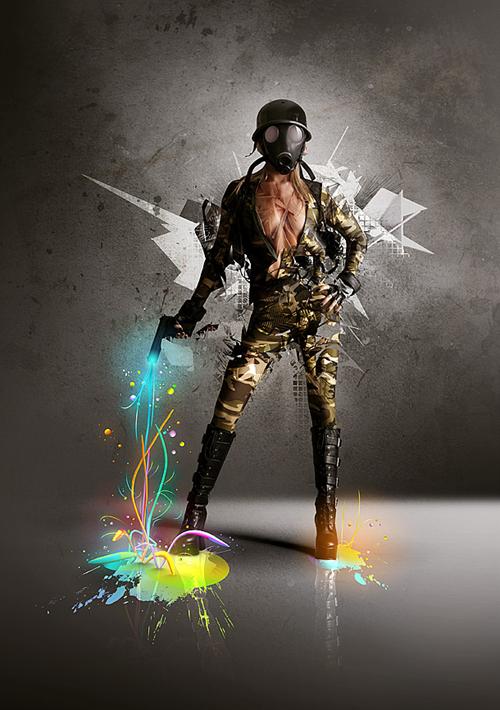 яркая девушка-солдат