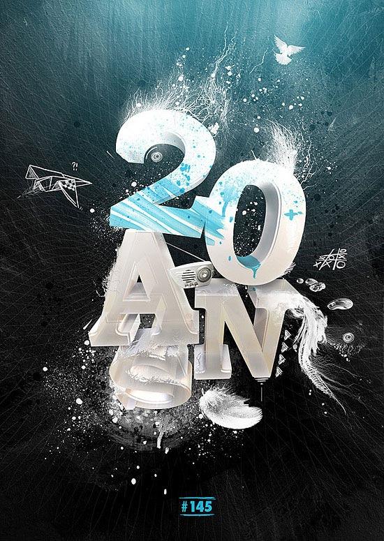3D типографический постер