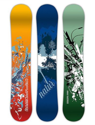 яркие иллюстрации на сноубордах