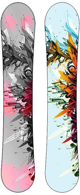 яркие абстрактные сноуборды