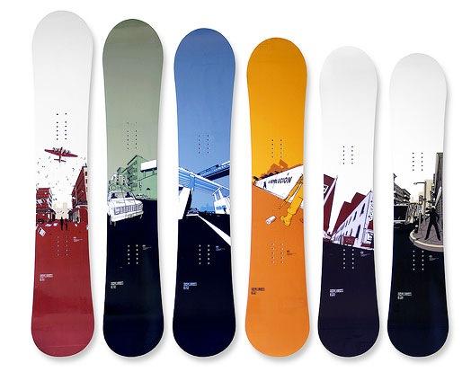 иллюстрации на сноубордах