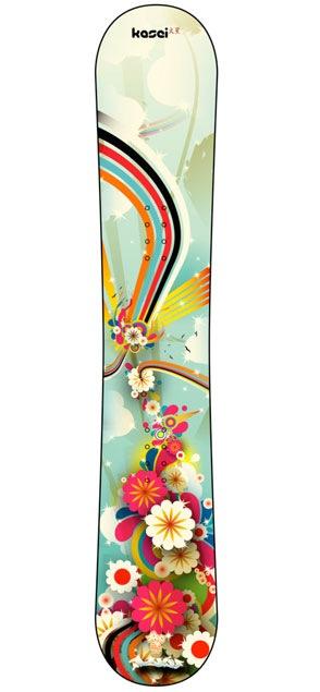 элементы цветов и радужных линий на сноуборде