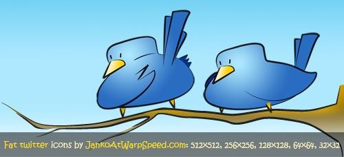 Набор иконок полных Twitter птичек